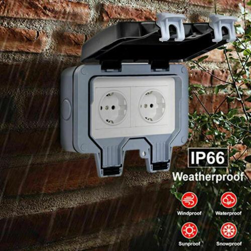 IP66 Wetterfeste wasserdichte Außenwandsteckdose 16A Doppel-EU-Standard 250V DE