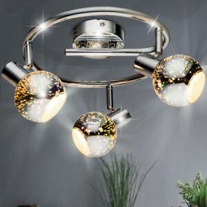 LED Decken Leuchte Rondell Lampe Schlaf Gäste Zimmer Glas Spot Chrom Beleuchtung