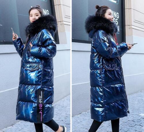 R brillant col pour Parka Manteau capuchon fourrure de en 2colors oversize femmes à coton doudoune EXCF6wq