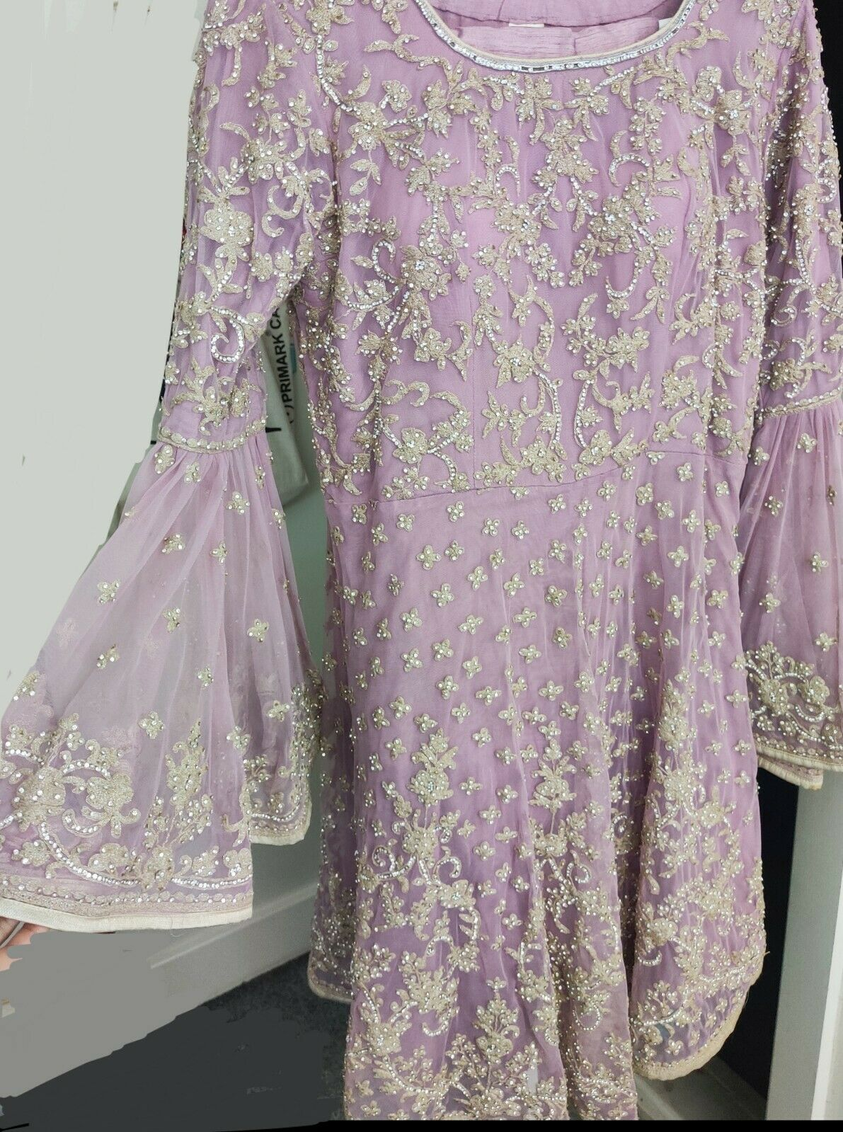 Lilac Asian Dress for weddings and occasions with stunning embroidery
