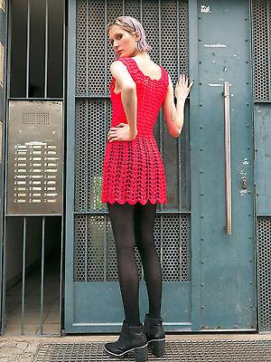 Miniabito Abito A Maglia Abito Neon Pink True Vintage 70er Knitted Dress Handmade-mostra Il Titolo Originale Vincere Elogi Calorosi Dai Clienti