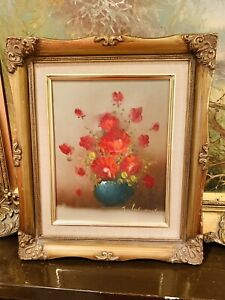 ORIGINAL-OIL-ON-CANVASS-PAINTING-STILL-LIFE-RED-FLOWERS-GILT-GOLD-FRAME-SIGNED