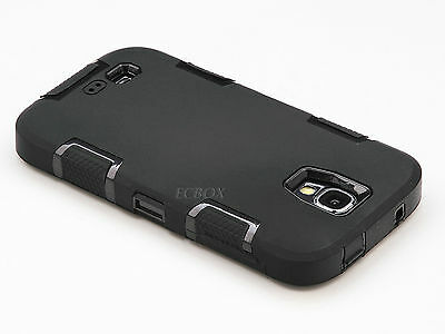 Black Hybrid Heavy Duty Rugged Combo Hard Case Cover for iPhone & Samsung Phones