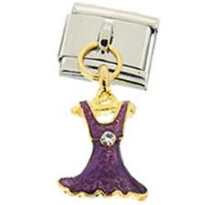 1 Purple Dress Dangle Charm 9MM Stainless Steel Italian Charm