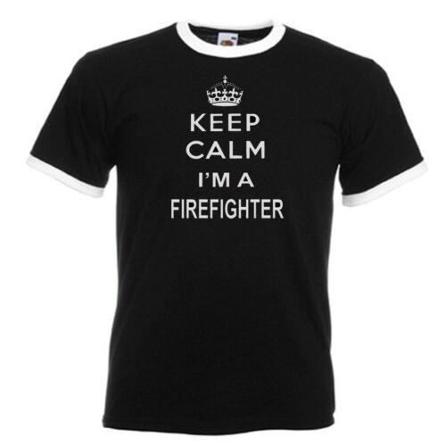 Keep Calm Firefighter Fireman Adults Mens Black Ringer Gift T Shirt