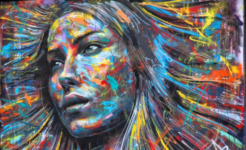 A0  Poster paper graffiti stencil girl hair  urban london contemporary face
