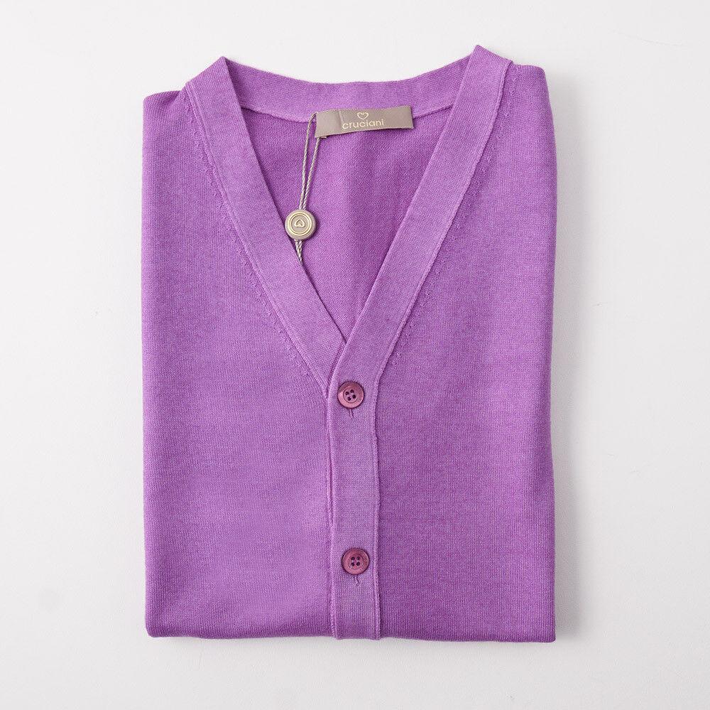 NWT 600 CRUCIANI Lavender lila Merino Wool Cardigan Sweater Vest M (Eu 50)