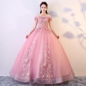 Elegent Womens Quinceanera Dresses Blush Pink Off Shoulder Lace Long party dress