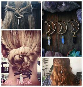 Boho-Women-Crescent-Moon-Hexagonal-Crystal-Hair-Clip-Hairpin-Barette-Hair-Decor