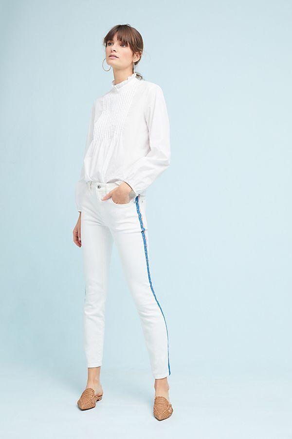 158 Anthropologie Pilcro Crochet randig Mid -Rise Skinny Ankle Jeans ny SZ 28