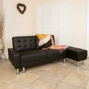 Brilliant Details About Black Faux Leather 3 Seater Sofa Bed With Ottoman Storage Stool Sofabed Wido Caraccident5 Cool Chair Designs And Ideas Caraccident5Info