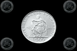 ITALY 500 Lire 1975 R Birth of Michelangelo Buonarroti Silver UNC