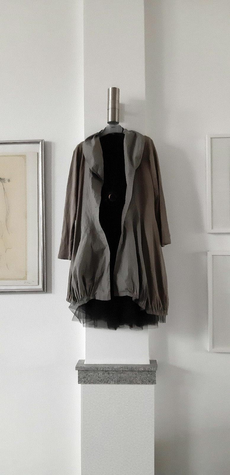 Rundholz edle Designer Tunika in Ballonform 100% Cotton Hellgrau Gr. M