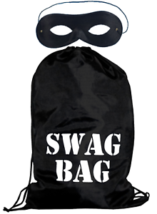 World Book Day Character Robber Black Swag Bag Elasticated Eye Mask Fancy Dress