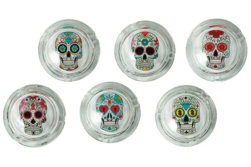Glas Aschenbecher Coloured Skull ca 8 x 4 cm Totenkopf Ascher Glasaschenbecher