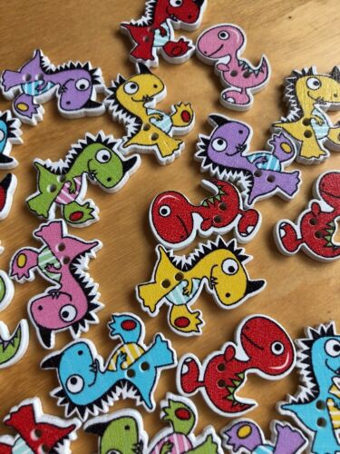 Brand New Mixed Lucky-Dip Selection Of 20 Dinosaur Themed Buttons Approx 26mm