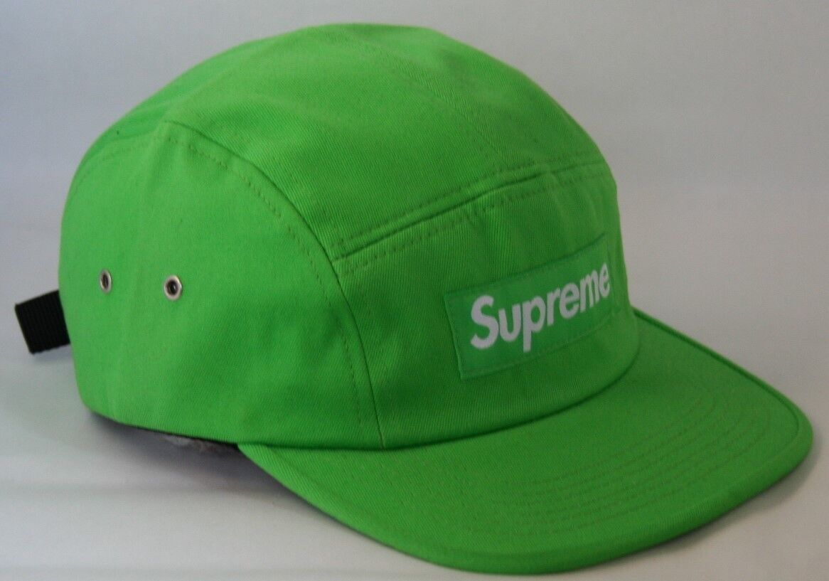 Supreme Washed Twill Neon Grön / Lime S / S 2012 Camp Cap 5 Panel Hat Deadstock