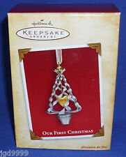 Hallmark Ornament Our First Christmas Together 2004 Metal Tree and Heart NIB