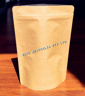 100X 150G(400ML) Stand Up Pouch Bag, Kraft Paper, Foil Lined, With Zip Lock