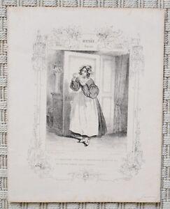 Discret Lithographie Xixème Par Paul Gavarni - Jeune Fille - Musée Pour Rire Luxuriant In Design