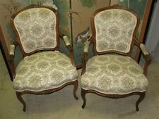 """Pair 1940's Walnut Louis XV Style Open Arm """"Fauteuil"""" Chairs"""