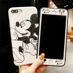 Set Cartoon Mouse Case for iPhone 8 7 6 Plus 360 Sketch Cover + Front Glass Film