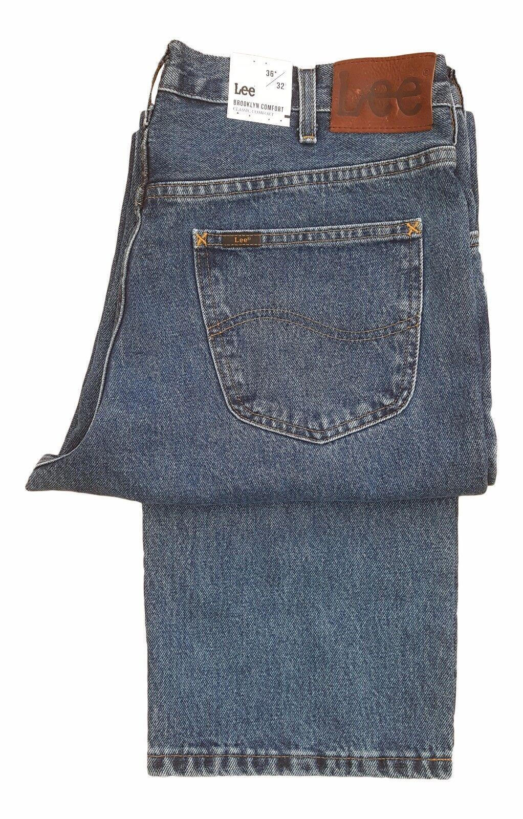 4f7afadd MENS COMFORT FIT STRAIGHT LEG JEAN - DARK STONEWASH blueE BROOKLYN LEE  nzrkmn1658-Jeans