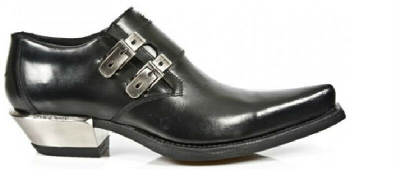 NEUrock NEU Rock 7934 Metallic schwarz Leder Buckle West Steel Heels Schuhes Boot