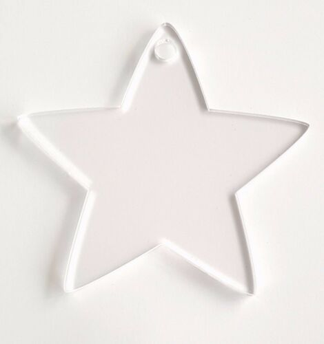 """SELECT SIZE /& COLOR 25 ACRYLIC CHRISTMAS ORNAMENTS BLANK STAR SOTO 1//8/"""" THICK"""