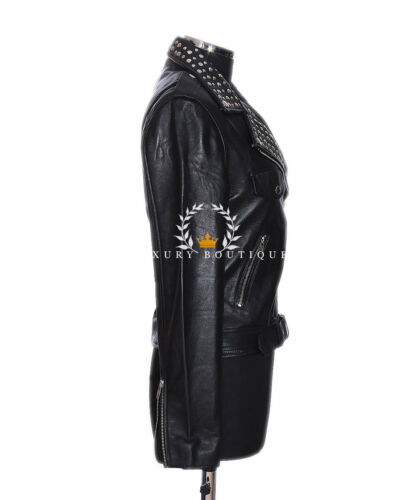 Lambskin Black Ny Ladies Veronica Biker Designer Jacket Fashion Studded Leather 6fAgUg4