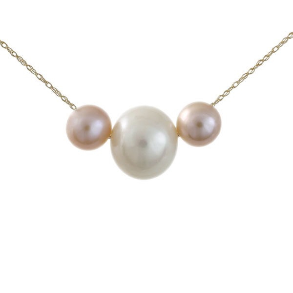 10K Solid gold White and Purple Genuine Freshwater Pearl Pendant & Chain