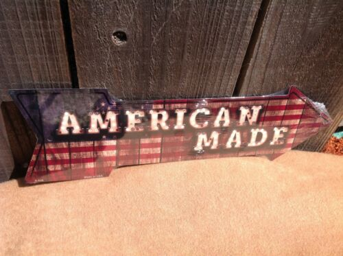 """Made American Flag This Way To Arrow Sign Directional Novelty Metal 17/"""" x 5/"""""""