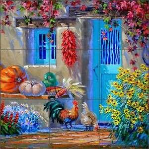 Ceramic-Tile-Mural-Backsplash-Kitchen-Senkarik-Rooster-Flowers-Pepper-Art-MSA174