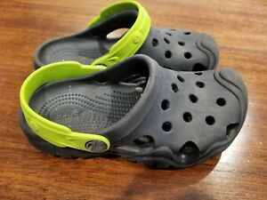 d4b9eb4fef378 Details about Crocs Kids Swiftwater Clog Ltd Clogs Size 12 Youth Black Lime  Green