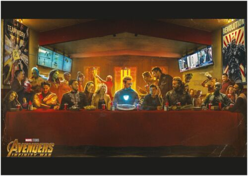 Marvel Avengers Last Supper Movie Large CANVAS Art Print A0 A1 A2 A3 A4
