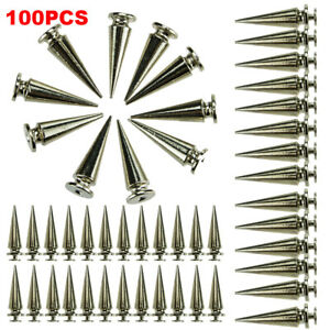 10Pcs 26mm Silver Spots Cone Screw Metal Studs Leathercraft Rivet Bullet Spikes