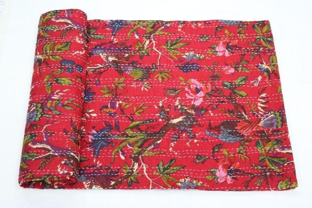 Red Print Bird Kantha Bedspread Bed Cover Vintage Quilt Kantha Throw Handmade