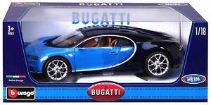 Bugatti Chiron Bleu Bburago Maisto France 11040b Echelle 1/18 Voiture Collection