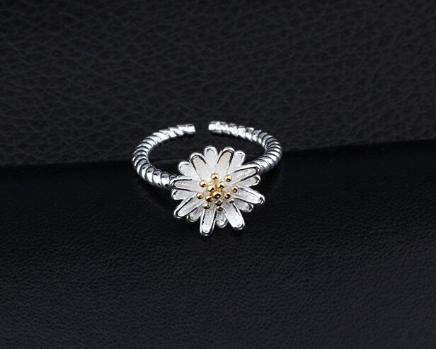Beautiful 925 sterling silver daisy open ring 50s 60s retro