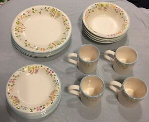 Image is loading Gibson-Everyday-China-16-Pc-4-Pl-Settings- & Gibson Everyday China 16 Pc 4 Pl Settings Butterflies \u0026 Flowers ...