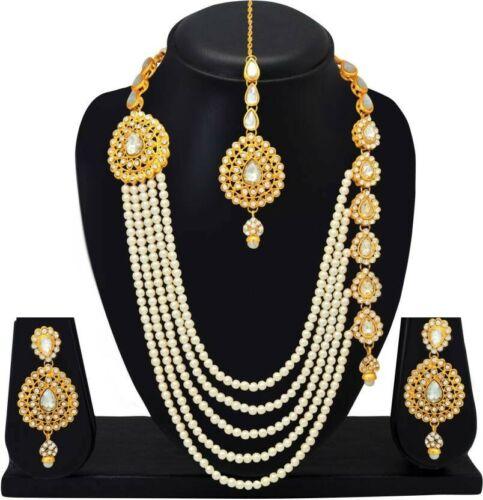 Indische Bollywood Mode Hochzeit Gold überzogene Halskette Set Brautschmuck 4011