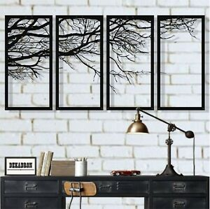 Details About Tree Of Life 4 Pieces Metal Wall Art Sign Panels