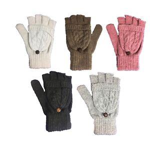 Details zu Damen Zopfmuster Warm Weich Winter aus Wolle Fingerlose Handschuhe Knopf