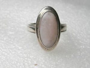 Beautiful Sterling Silver Bezel-Set Oval Mother-of-Pearl Ridged-Band Ring, 7.25