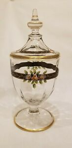 Vintage-Clear-Glass-Apothecary-Candy-Jar-Painted-Pink-Black-Floral-Gold