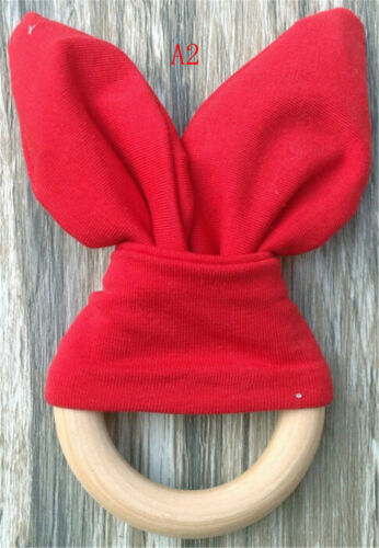 Safety Wooden Natural Baby Rabbit Teething Ring Teether Bunny  Babies Teether~GQ