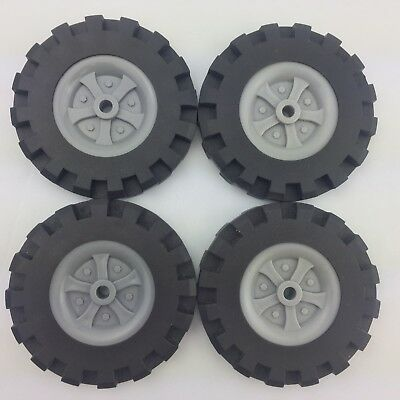 """Knex 4 Large Tires 3.5"""" with Gray Hubs Pulleys K'nex 3 1/2 ..."""