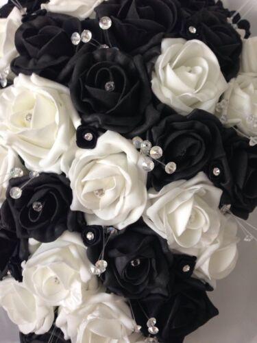 ARTIFICIAL WEDDING FLOWERS WHITE BLACK BRIDE CRYSTAL WEDDING TEARDROP BOUQUET