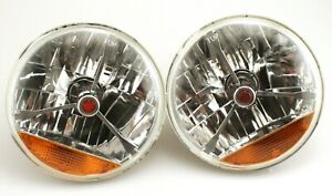 "Pair 7/"" Tri-Bar Headlight Blue Dot W//amber Turn H4 Halogen Hot Rod Street Rod"