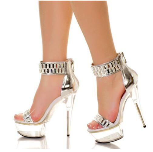 donna Luxurious Rhinestone Party Sandals Platform Zip Peep Toe 15cm Heels Pumps
